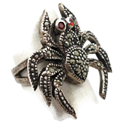Spider Ring, Marcasite Garnet, Vintage Ring, Sterling Silver, Gothic Jewelry, Biker Rocker, Statement, Unique Creepy, Odd Strange, Size 7