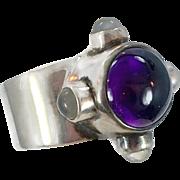Amethyst Ring, Moonstone Ring, Sterling Silver, Vintage Ring, Sajen, Designer, Size 7 1/2, Purple Stone, Wide, Big, Modern, Contemporary