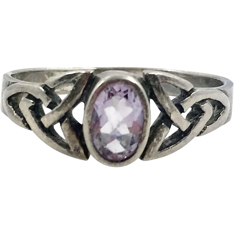Amethyst Ring,Blue Ring, Sterling Silver, Marquise, Irish Celtic Knot, Size 8 1/4, Vintage Jewelry, Vintage Ring, 925, Irish Jewelry
