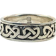 Celtic Knot Ring, Sterling Silver, Size 13, Celtic Band, Vintage Ring, Irish Jewelry, 925, Irish Wedding Band, Thumb Ring, Unisex, Mens