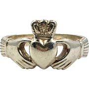 Claddagh Ring, Sterling Silver, Size 8 1/2, Vintage Ring, Irish Jewelry, Celtic Ring, 925, Irish Wedding, Heart, Crown, Hands