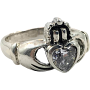 Claddagh Ring, CZs, Sterling Silver, Size 8, Celtic Jewelry, Vintage Ring, Irish 925, Irish Wedding, Heart Crown Hands