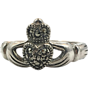 Claddagh Ring, Sterling Silver, Marcasite Stone, Size 5 1/2, Vintage Ring, Irish Jewelry, Celtic Ring, Irish Wedding, Heart, Crown, Hands