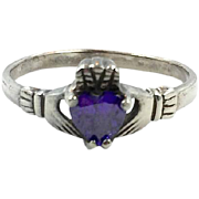 Claddagh Ring, Sterling Silver, Vintage Ring, Purple, Faux Amethyst, Irish Jewelry, Celtic, Size 8 1/2, Irish Wedding, Heart, Crown, Hands