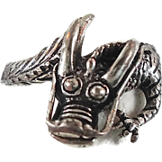 Dragon Ring, Sterling Ring, Vintage Ring, Peter Stone, Irish Medieval, Renaissance, Size 8, Unisex Mens Mans, Unisex, 925, Statement, Gothic