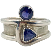 Modern Ring, Sterling Silver, Vintage Ring, Purple, Blue, Studio, Heavy, Unique, Modern, Size 8, Ring Band, Heavy Silver, Faux Iolite