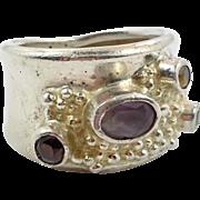 Gemstone Ring, Amethyst, Garnet, Peridot, Citrine, Sterling Silver, Vintage Ring, Size 6, Ring Band, Studio, Unique Modern, Brutalist