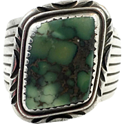 Turquoise Ring, Green Turquoise, Sterling Silver, Vintage Ring, Native American, Navajo, Signed, Denetdale, Heavy, Mens Ring, Size 11 3/4