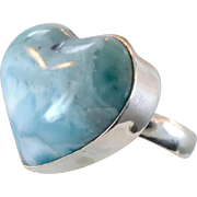 Blue Larimar, Heart Ring, Sterling Silver, Vintage Ring, Big Dolphin Stone, Statement Ring, Size 8 1/2, Beach Mermaid, Ocean Sea, Stefilia