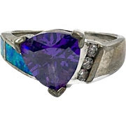 Iolite Ring, Sterling Silver, Opal, Vintage Ring, Inlay, Inlaid, Fiery Lab Opal, Purple Gemstone, CZs, Size 8, Trillion Cut, Sterling Ring