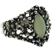 Jade Ring, Brutalist Ring,Sterling Silver, Vintage Ring, Wax Cast, Vintage Jewelry, Statement Ring, Contemporary, Modern, Organic, 6 1/2