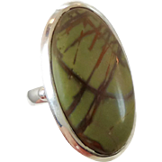 Jasper Ring, Sterling Silver, Vintage Ring, Silver Ring, Size 8, Big Stone, Large, Long, Brown, Green, Stone Ring, Vintage Jewelry