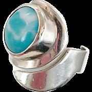 Blue Larimar, Unique Ring, Sterling Silver, Vintage Ring, Statement, Big Dolphin Stone, Size 7, Adjustable, Blue Stone, Boho Bohemian