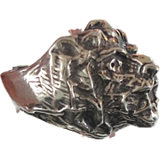 Lion Ring, Sterling Silver, Vintage Ring, Size 9, Big Statement, Heavy Silver, Leo Jungle Animal, Huge Large Massive, Unisex Mens Mans, Rocker Biker