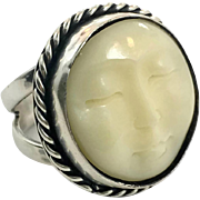 Face Ring, Moon Ring, Goddess Face, Sterling Silver, Vintage Ring, Carved Bone, Size 7 1/2, Full Moon, Big, Large, Statement Ring, Unusual