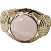 Rose Quartz Ring, Sterling Silver, Vintage Ring, Big Stone, Pink Ring, Pink Stone, Size 8, Modern, Boho Bohemian, New Age, Crystal