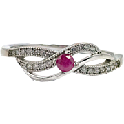 Ruby Ring, Sterling Silver, Vintage Ring, Size 9 1/2, Sweet, Petite, Genuine Stone, Gemstone, Feminine Ring, 925, Ring Band