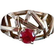 Ruby Ring, Sterling Silver, Modern, Brutalist, Vintage Ring, Abstract, Handcrafted, Size 5 1/2, Contemporary, Artisan, Studio Quality, OOAK