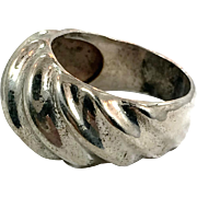 Modern Ring, Sterling Silver, Vintage Ring, Big Statement Ring, Contemporary, 1970s 70s, Size 8, Abstract, Modern, Mens Pinky, Brutalist