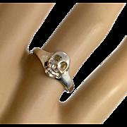Skull Ring, Skeleton Ring, Sterling Silver, Vintage Ring, Size 7, 925, Petite, Gothic, Creepy, Biker, Rocker, Day of Dead