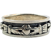 Claddagh Ring, Spinner, Sterling Silver, Size 9, Celtic Knot, Vintage Ring, Irish Jewelry, 925, Irish Wedding, Heart, Crown, Hands
