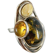 Amber Ring, Sterling Silver, Vintage Ring, Tri-Color, Green, Honey, Butterscotch, Size 7 1/2, Big, Wide, Modern, Large, Unique, Contemporary