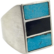 Turquoise Ring, Sterling Silver, Black Onyx, Vintage Ring, Native American, Inlay Inlaid, Size 10 1/2, Big Unisex, Mens, Southwestern