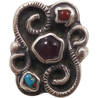 Turquoise Ring, Red Coral, Sterling Silver, Vintage Ring, Mexico, Handcrafted, Artisan,Size 6, Southwestern, Unique, Unusual, Boho Jewelry