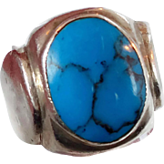 Turquoise Ring, Sterling Silver Ring, Vintage Ring, Big Statement, Mexico Mexican, Unisex Mans Mens, Size 9 1/2, Blue Stone, Black Matrix