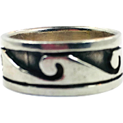 Wave Ring, Sterling Silver, Vintage Ring, Size 7 1/2, Ocean, Surfer, Unisex, Mens, Vintage Jewelry, Ring Band, Beach Jewelry