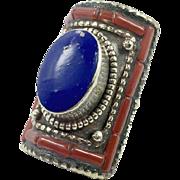 Lapis Ring, Boho Ring, Red Coral, Nepal Jewelry, Statement Ring, Tibetan Silver, Tibet Ring, Boho Bohemian, Size 8, Tribal Ethnic