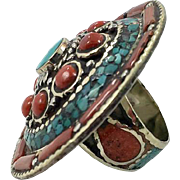 Nepal Ring, Turquoise Ring, Red Coral, Size 7, Statement Ring, Vintage Ring, Tibetan Silver, Tibet, Boho, Bohemian, Massive, Gypsy, Big Nepal Ring, Turquoise Ring, Red Coral, Size 7, Statement Ring, Vintage Ring, Tibetan Silver, Tibet, Boho, Bohemian