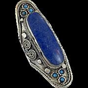Tibetan Ring, Blue Lapis Ring, Nepal Jewelry, Statement, Massive, Tibetan Silver, Size 10, Big, Composite Lapis Stone, Bohemian, Ethnic