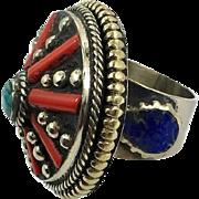 Nepal Ring, Turquoise Ring, Red Coral, Lapis, Statement Ring, Vintage Ring, Tibetan Silver, Tibet, Boho, Bohemian, Size 7 3/4, Gypsy, Big