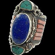 Lapis Ring, Turquoise, Red Coral, Nepal Jewelry, Boho Ring, Statement Ring,Tibetan Silver, Tibet Ring,Bohemian, Size 7 3/4, Wide, Big