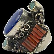 Lapis Ring, Turquoise, Red Coral, Nepal Jewelry, Size 8, Boho Ring, Statement Ring,Tibetan Silver, Tibet Ring,Bohemian, Wide, Big