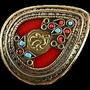 Turkish Ring, Red, Turquoise, Vintage Afghan, Kuchi Ring, Huge, Size 8, Kazakhstan, Enamel, Bohemian, Massive, Oversized, Statement Ring