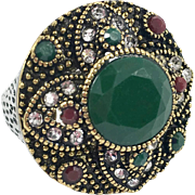 Turkish Ring, Brass Silver, Vintage Ring, Ottoman, Glass Ruby Emerald, Boho Statement, Size 6 1/2, Ethnic Tribal, Red Green, CZs, Turkey
