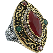 Turkish Ring, Brass, Vintage Ring, Ottoman, Glass Ruby, Faux Emerald, Size 8, Boho Statement, Ethnic Tribal, Red Green, Cubic Zirconia, CZs