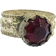 Gypsy Ring, Vintage Ring, Ruby Red Glass, Kuchi Ring, Afghan Ethnic, Statement Ring, Size 6 1/2, Nomad, Turkomen, Bedouin, Boho Bohemian