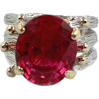 Unique Ring, Sterling Silver, Gold Wash, Pink, Vintage Ring, Faux Tourmaline, Size 7, Organic, Rustic, Wide, Large, Big, Vintage Jewelry