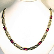Signed French Edwardian Rolled Gold And Ruby Paste Necklace - c.1900