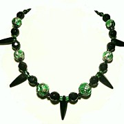 Art Deco French Jet And Emerald Green Venetian Glass Necklace