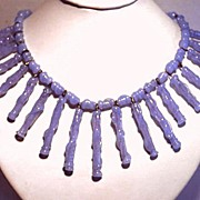 Vintage 1950 Signed German Blue Glass Long Fringe Necklace c.1950