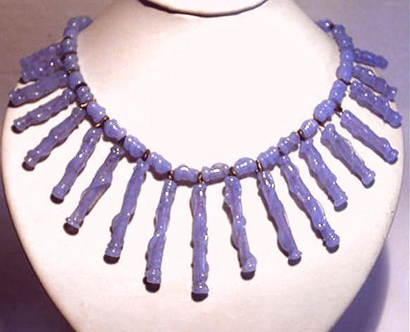 Vintage 1950 Signed German Blue Glass Long Fringe Necklace c.1950