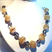 1950s Butterscotch  Glass & Crystal Bead Necklace