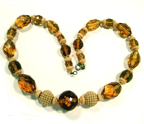 Vintage Deco Citrine / Amber Glass Beads Necklace