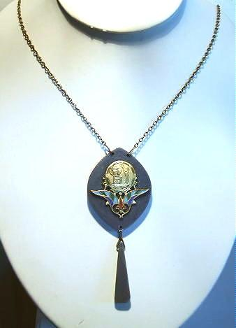 Vintage Art Deco Egyptian Revival Blue Bakelite Pendant Drop Necklace
