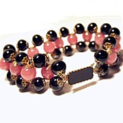 Art Deco Pink And Black Glass Bead Bracelet
