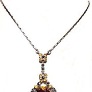 Antique English Edwardian Citrine Paste Marcasite Pendant Lavaliere Necklace